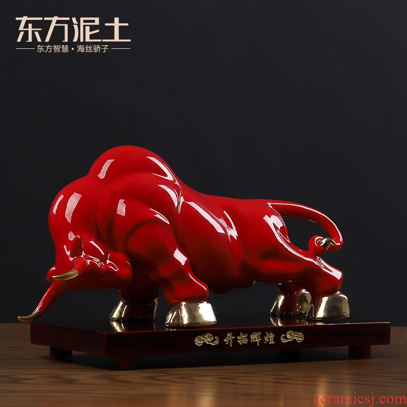 Oriental ceramic red earth ox furnishing articles on Wall Street sitting room office opening gifts