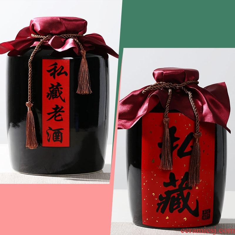 Jingdezhen ceramic jars with hip seal storage small wine bottles vintage wine 1/2/3/5/10 kg