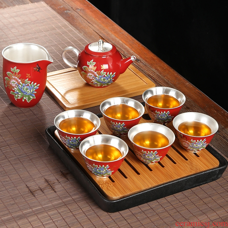 Ceramic coppering. As silver tea set 999 sterling silver set special kung fu tea tureen teapot whole household gift box