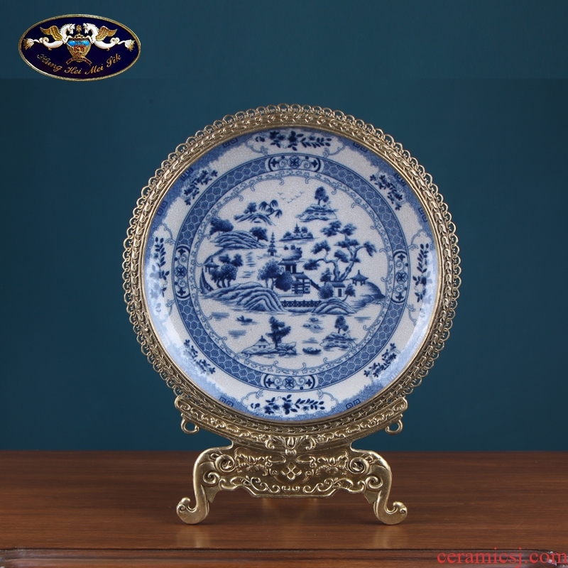 Plate decoration Plate is placed to restore ancient ways American country show blue and white porcelain example room decorates a wall hanging dish