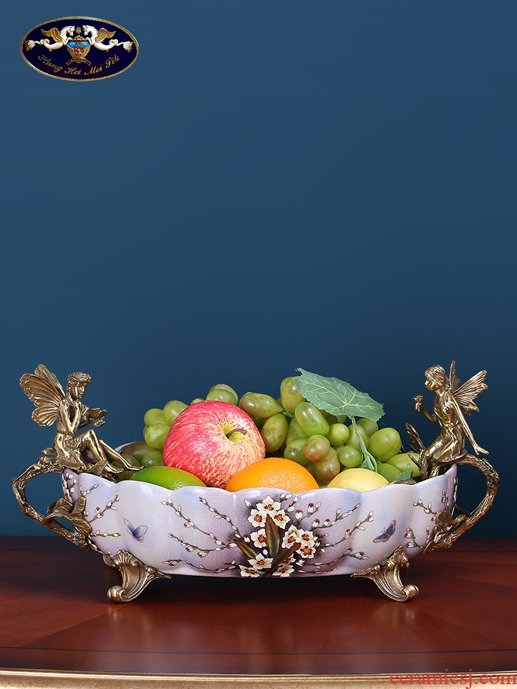 European American fruit bowl creative household luxurious sitting room of Chinese style household table table ceramic plate is placed