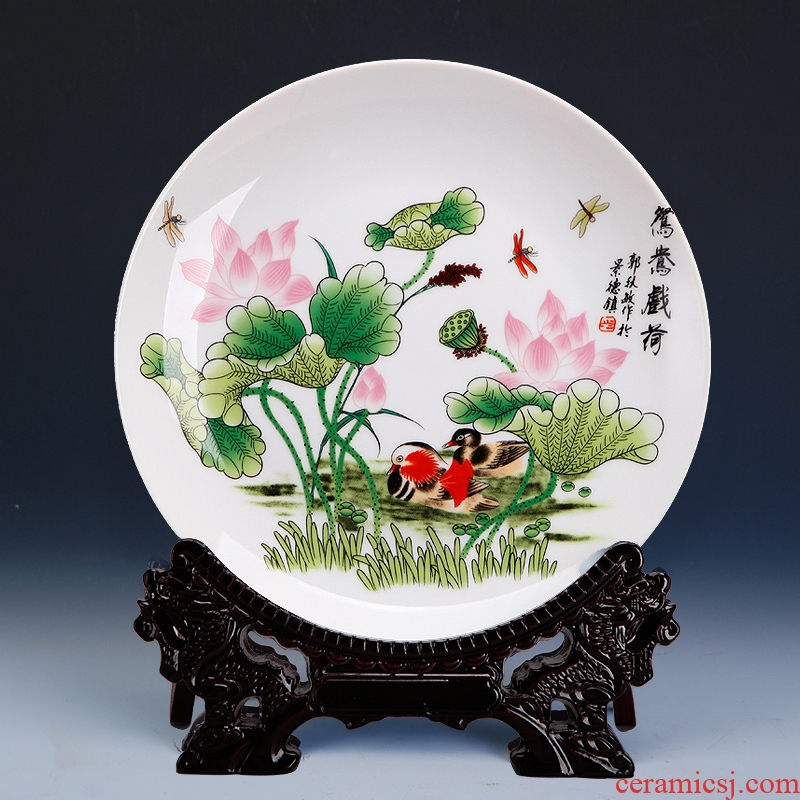 Jingdezhen porcelain chinaware lotus faceplate hang dish of rural household decoration decoration