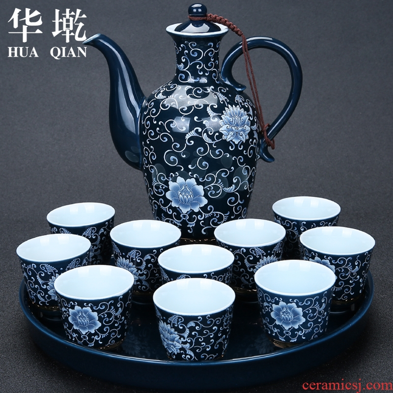 China Qian ceramic wine wine wine wine set points home wine pot liquor cup kit gift set