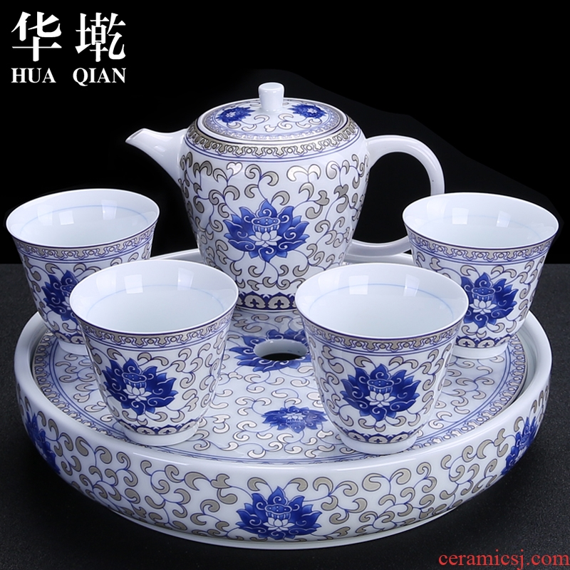 China Qian blue and white porcelain tea set suit household contracted ceramic kung fu tea taking of a complete set of teapot teacup tea tray