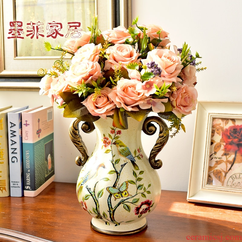 Europe type dry flower adornment is placed American new Chinese style restoring ancient ways the desktop ceramic vases, flower art creative floral outraged sitting room