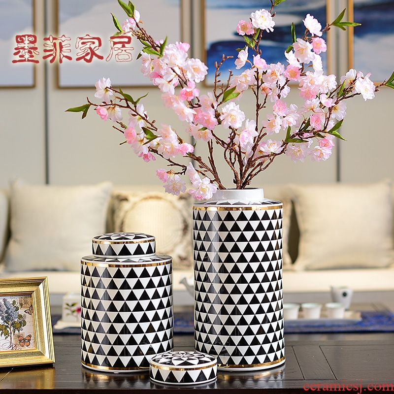 The New Chinese American light key-2 luxury furnishing articles ceramic vase household act the role ofing is tasted, the sitting room porch TV ark, soft adornment ornament