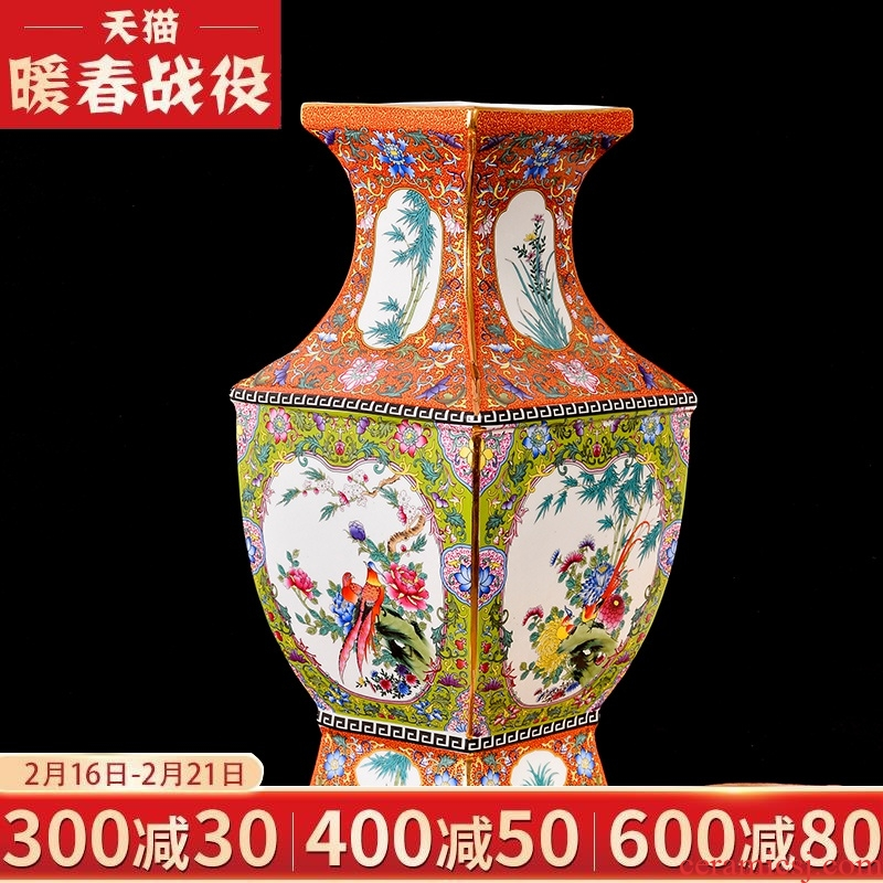 Jingdezhen ceramics imitation qianlong enamel see colour flower arranging classical vase furnishing articles of new Chinese style of the sitting room porch decoration
