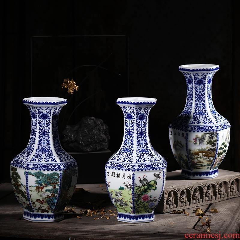 Blue and white porcelain of jingdezhen ceramics vase porch place rich ancient frame TV ark, decoration decoration
