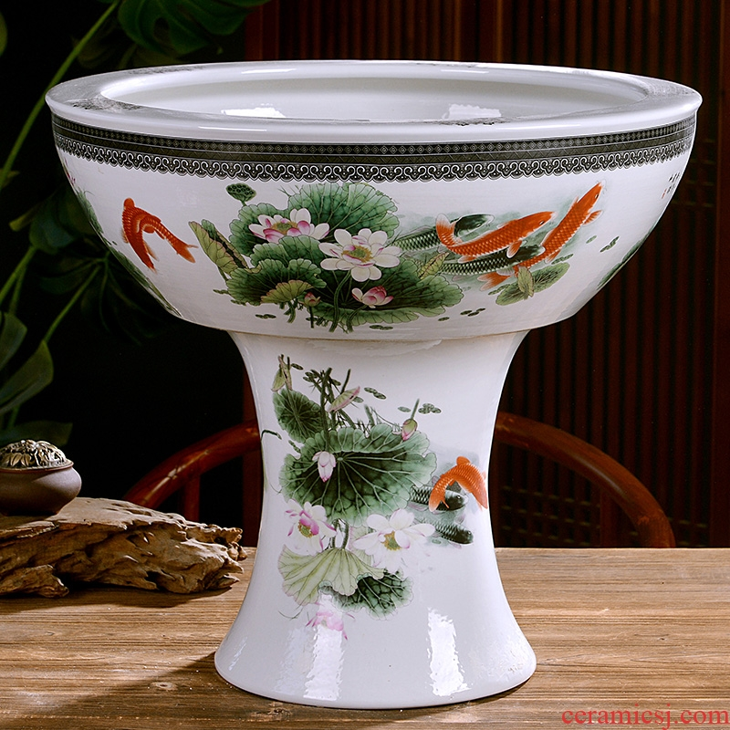 Jingdezhen ceramics large pillar landing fish tank water lily always LianHe flowerpot cylinder sitting room adornment big furnishing articles