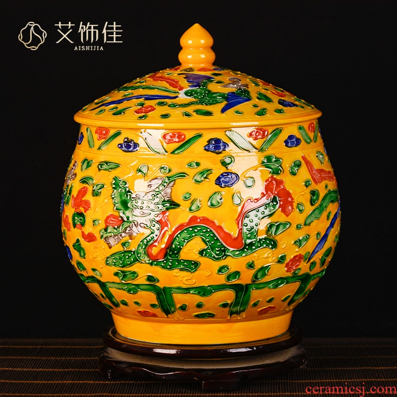 Jingdezhen ceramics yellow in extremely good fortune general tank storage tank Chinese seal pot sitting room decoration
