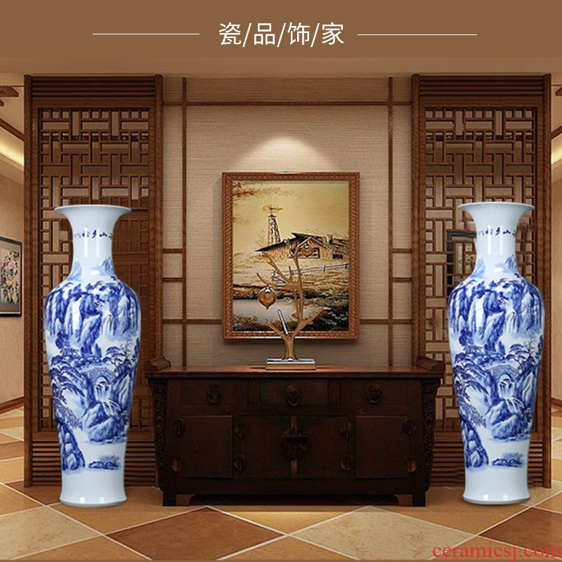 Jingdezhen ceramics of large vases, hand - made landscape lotus blue and white porcelain vases, the sitting room decorate gifts furnishing articles