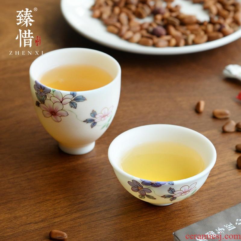 Become precious little Chinese dehua white porcelain tea set manual hand - made master cup cup sample tea cup suet jade porcelain ceramic cup