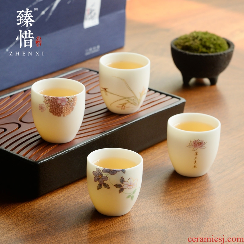 Become precious little Chinese dehua white porcelain tea set manual hand - made teacup sample tea cup suet jade porcelain ceramic masters cup of the four seasons