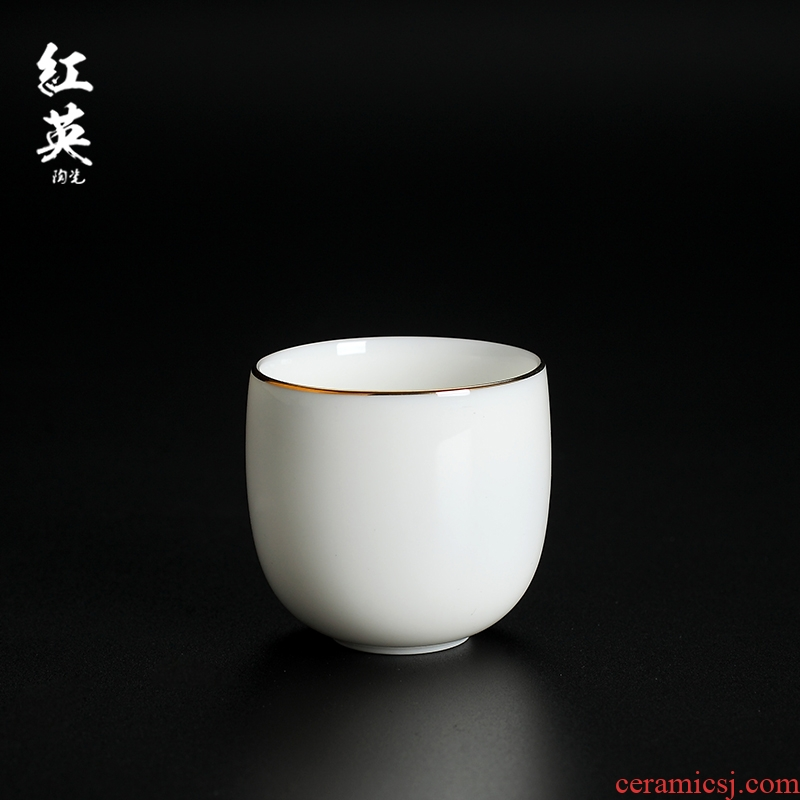 Hongying jingdezhen ceramic kung fu tea master cup single CPU thin body paint sweet white jade porcelain sample tea cup small tea cups