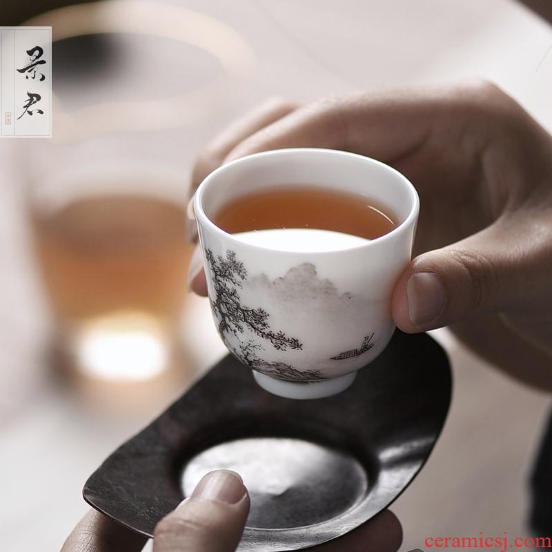 JingJun jingdezhen ceramic tea set hand - made color ink landscape sample tea cup cup kunfu tea cup tea cup