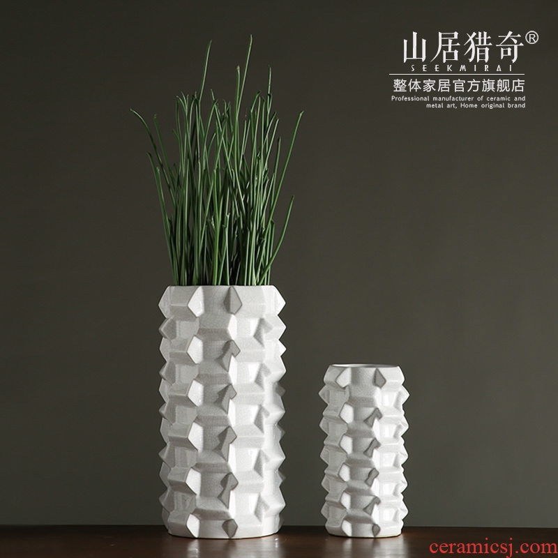 White ceramic flower vases furnishing articles of modern household soft adornment example room decorate the vase water bottles