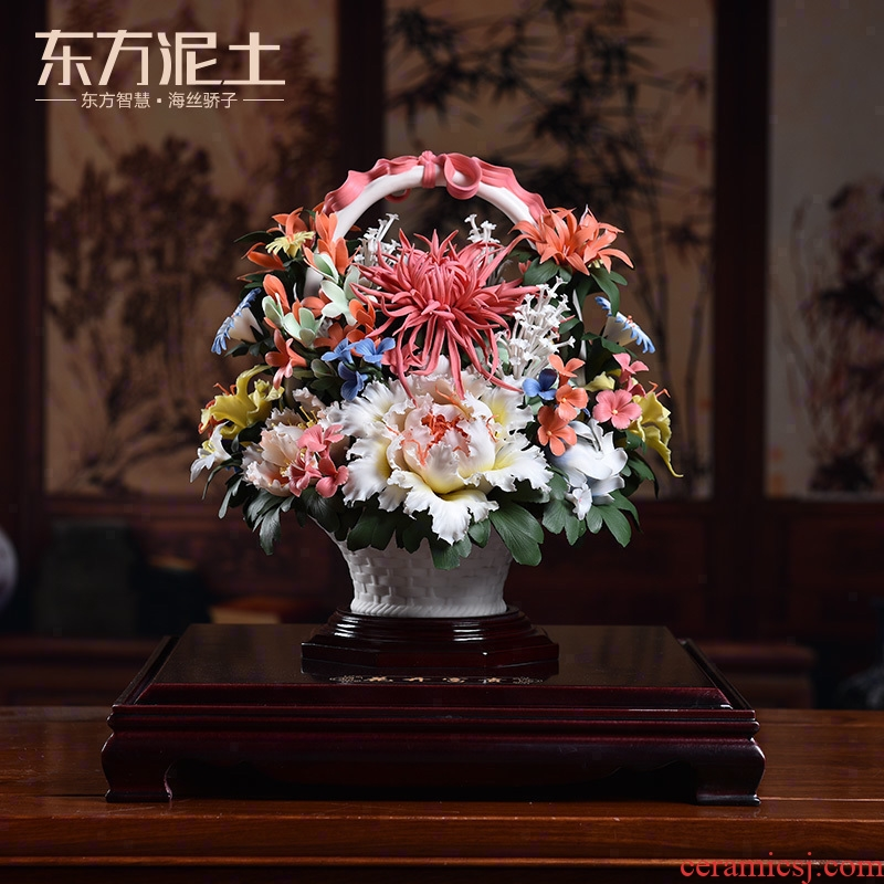 Oriental soil dehua white porcelain its art ceramic furnishing articles of Chinese style living room decoration decoration/flowers