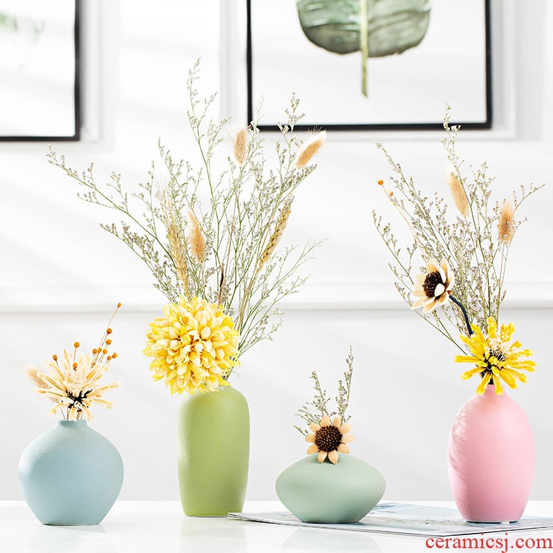 Ceramic vases, dried flower adornment furnishing articles furnishing articles contracted household decorative vase living room TV ark, furnishing articles arranging flowers