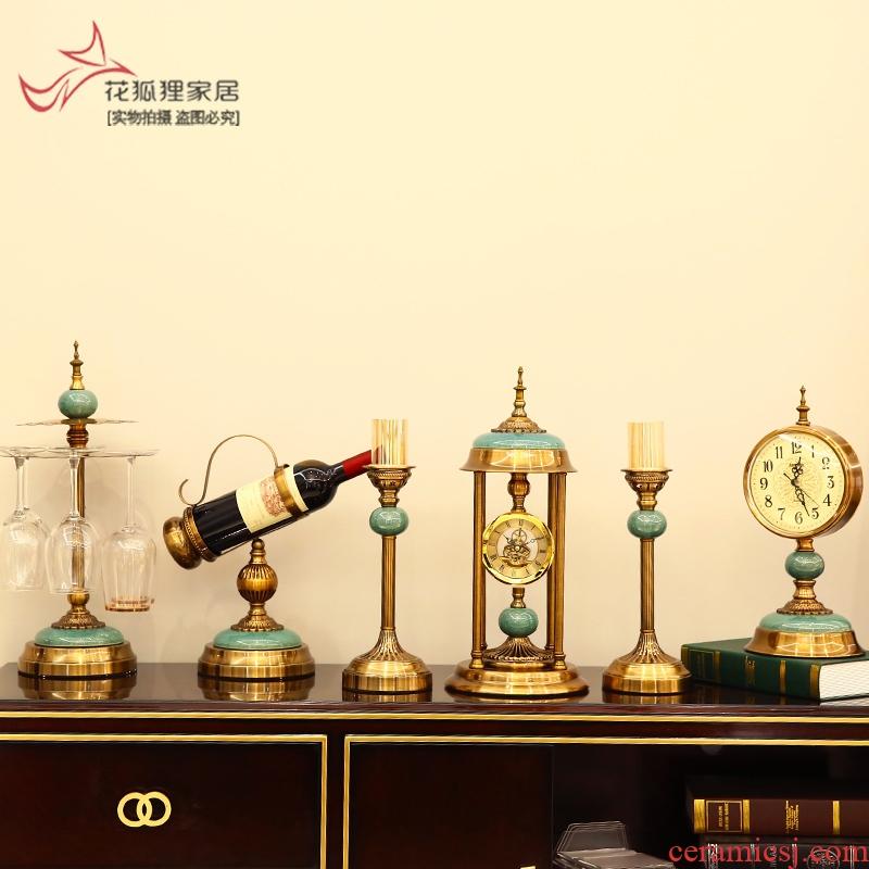 Flower fox ceramic light alloy European modern key-2 luxury clock table wine glass lamp vase is furnishing articles