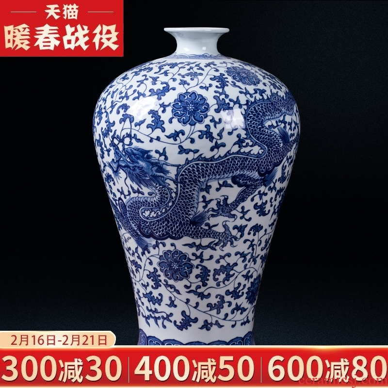 Jingdezhen blue and white dragon grain ceramic antique flower arranging Chinese vase household TV ark, the study porch to collect furnishing articles