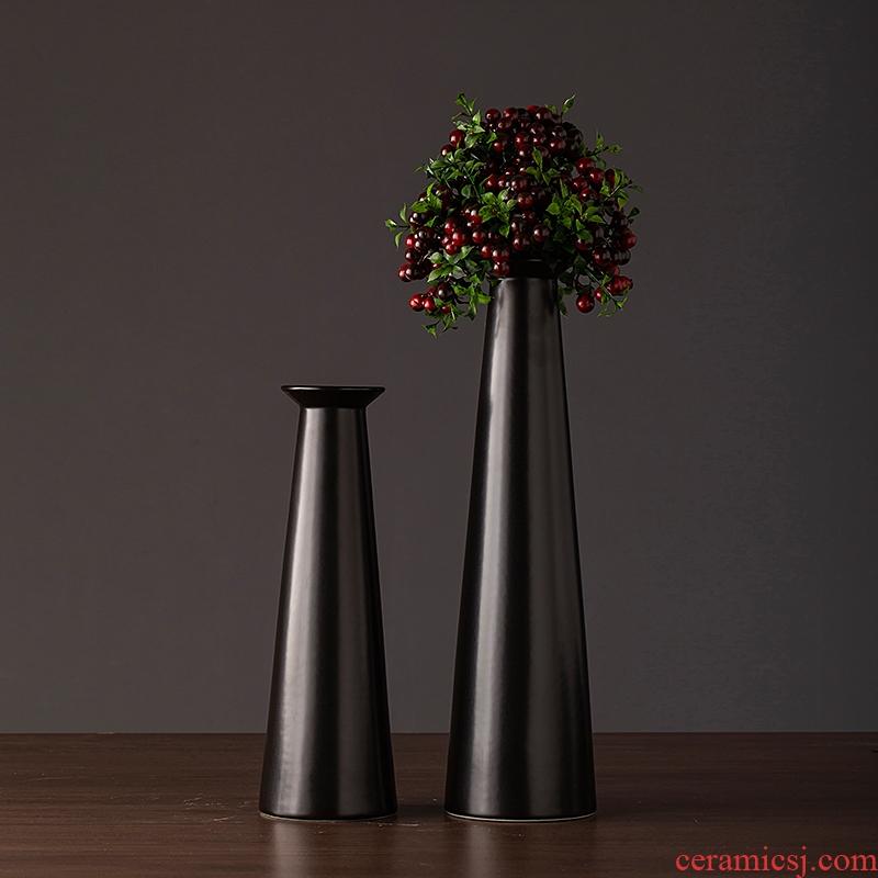 Jingdezhen ceramic vase simple retro black sitting room porch TV ark, home furnishing articles new decorative vase