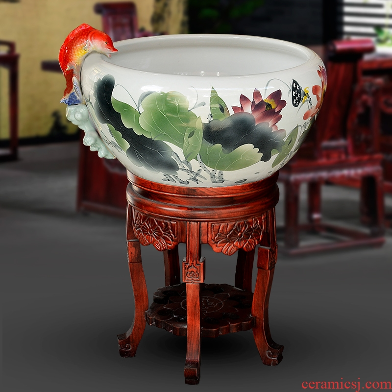 Jingdezhen ceramic fish tank is big sitting room be born lucky fish and turtles water lily lotus feng shui is suing furnishing articles