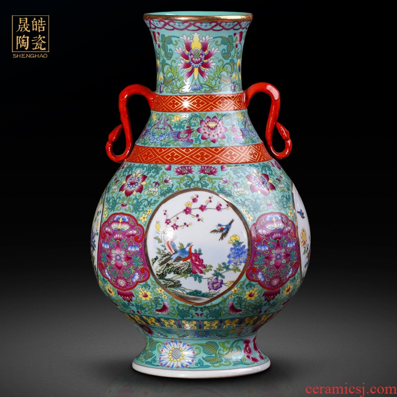 Jingdezhen ceramics vase imitation the qing qianlong antique ears zun pastel dress of flowers and birds do old porcelain furnishing articles in all directions