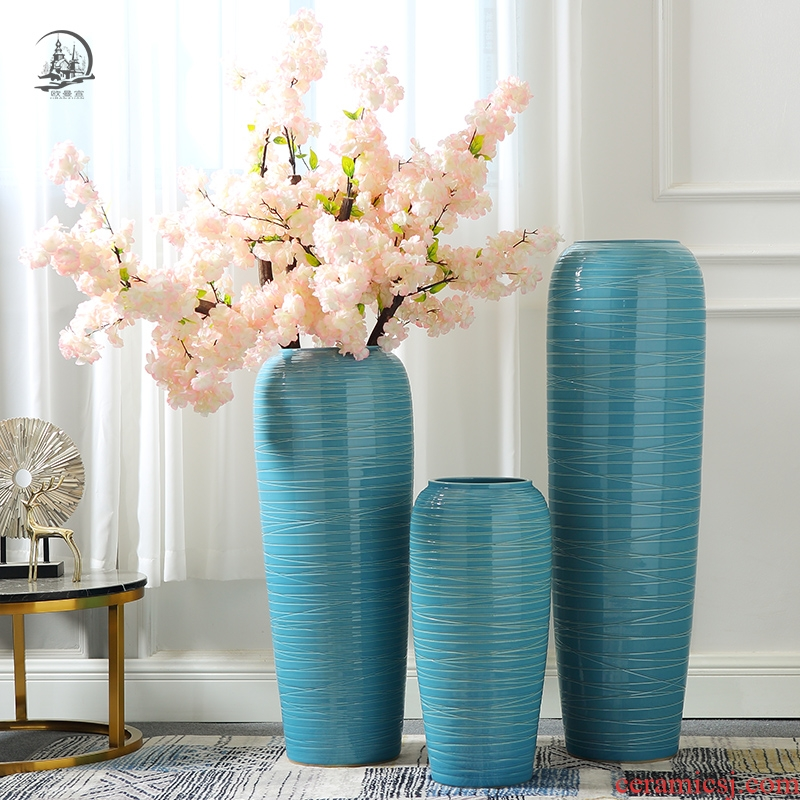 Lucky bamboo dried flowers big ceramic vase contracted and I furnishing articles flower arrangement sitting room ground villa home decoration