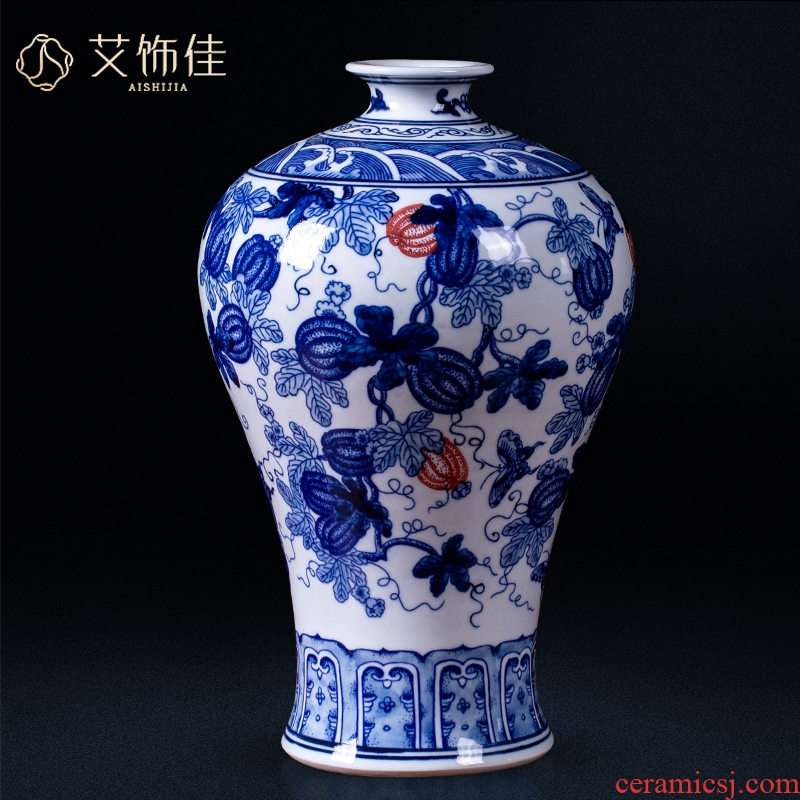 Jingdezhen ceramics by hand antique blue and white porcelain vase furnishing articles flower arranging the sitting room of Chinese style household decorative arts and crafts