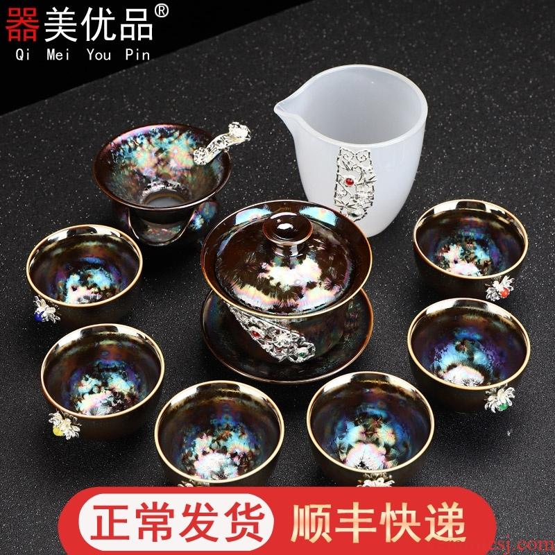 Implement the best tea with light colorful peacocks tureen temmoku built suits for the teapot tea light ceramic kung fu tea set