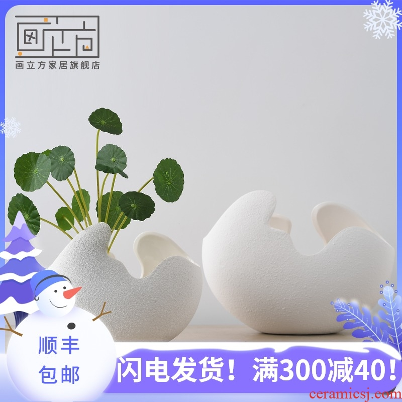 Cubic European white insert ceramic vase made penjing I and contracted household soft adornment sitting room decoration