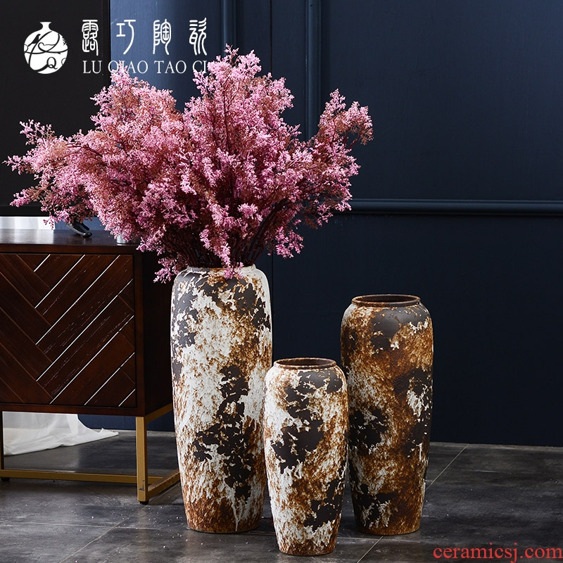Lou qiao porch simulation brought large vases, flower arrangement sitting room be born place large earthenware jar flower implement retro nostalgia