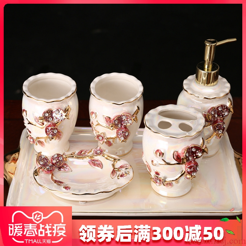 Set the fox sanitary ware has five gargle suit European ceramic lovers brushing beverage holder creative wedding gift