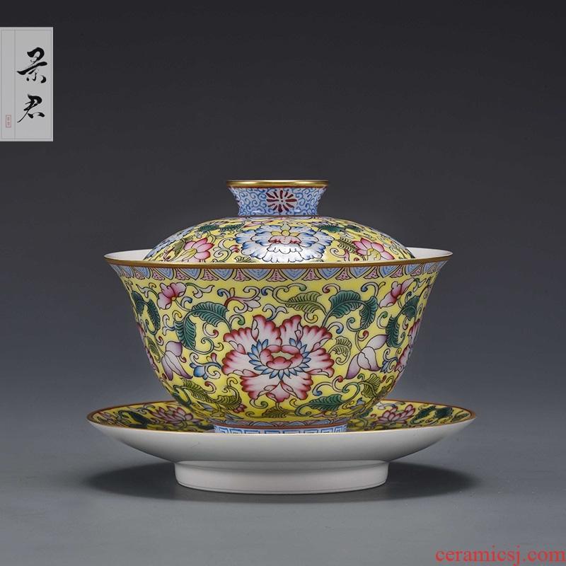 JingJun jingdezhen ceramics kung fu tea set only three bowl of hand - made tureen manually make tea bowl cups to cups