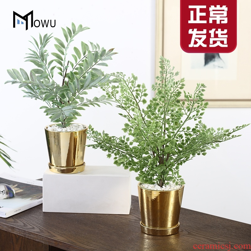 The house, The Nordic ins golden light wind key-2 luxury ceramic flower POTS decoration creative furnishing articles contracted fake, suit small potted flower