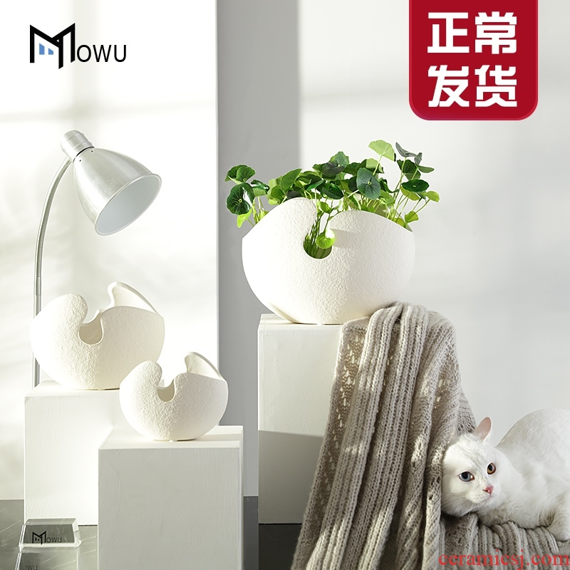 The house, The Nordic white ceramic shell vase creative dry flower vases, table of The sitting room adornment furnishing articles suit