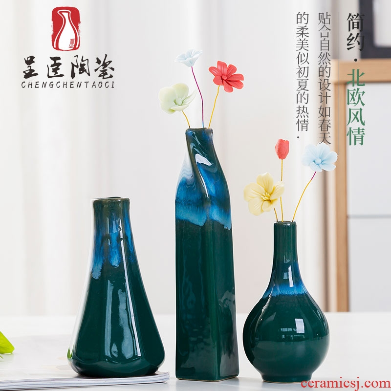 Jingdezhen ceramic hanging vases flower arranging furnishing articles I and contracted sitting room small and pure and fresh Nordic TV ark, adornment