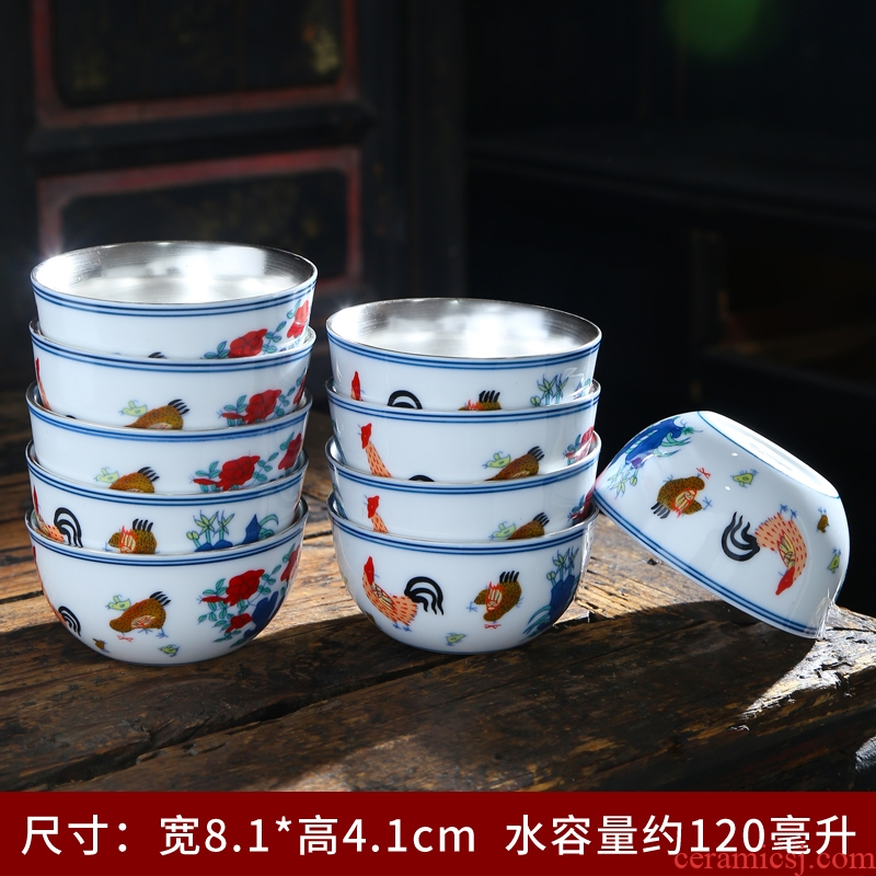 280 chickens cylinder of jingdezhen lamp cup small teacup only a single master cup white porcelain ceramic ipads China Japanese restoring ancient ways