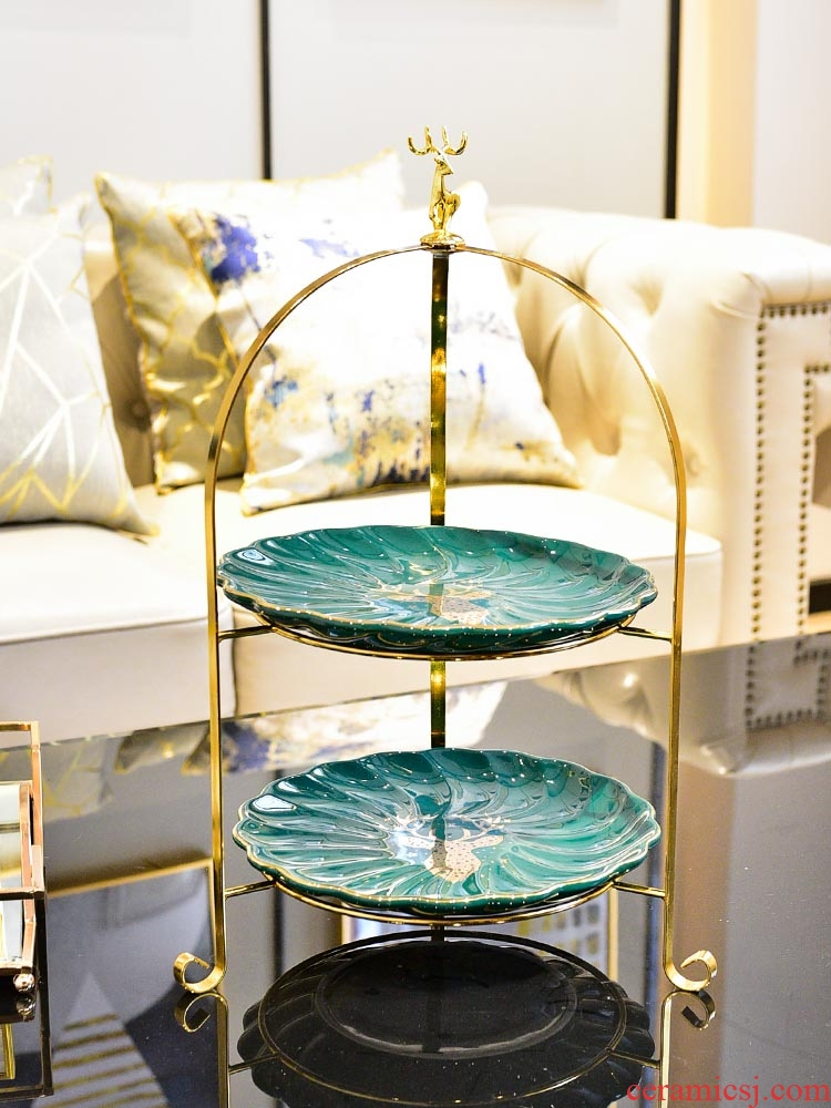 American light and decoration ceramics double compote modern home sitting room key-2 luxury dessert plate dry fruit tray was creative tea table furnishing articles