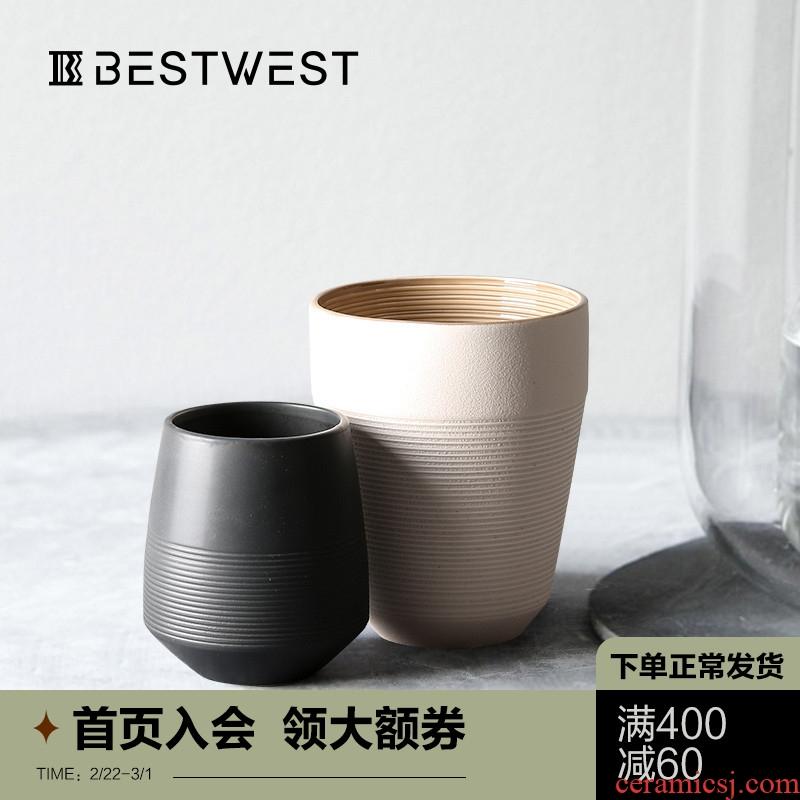 BEST WEST creative morandi color ceramic vase furnishing articles sitting room dry flower vases, soft adornment ornament