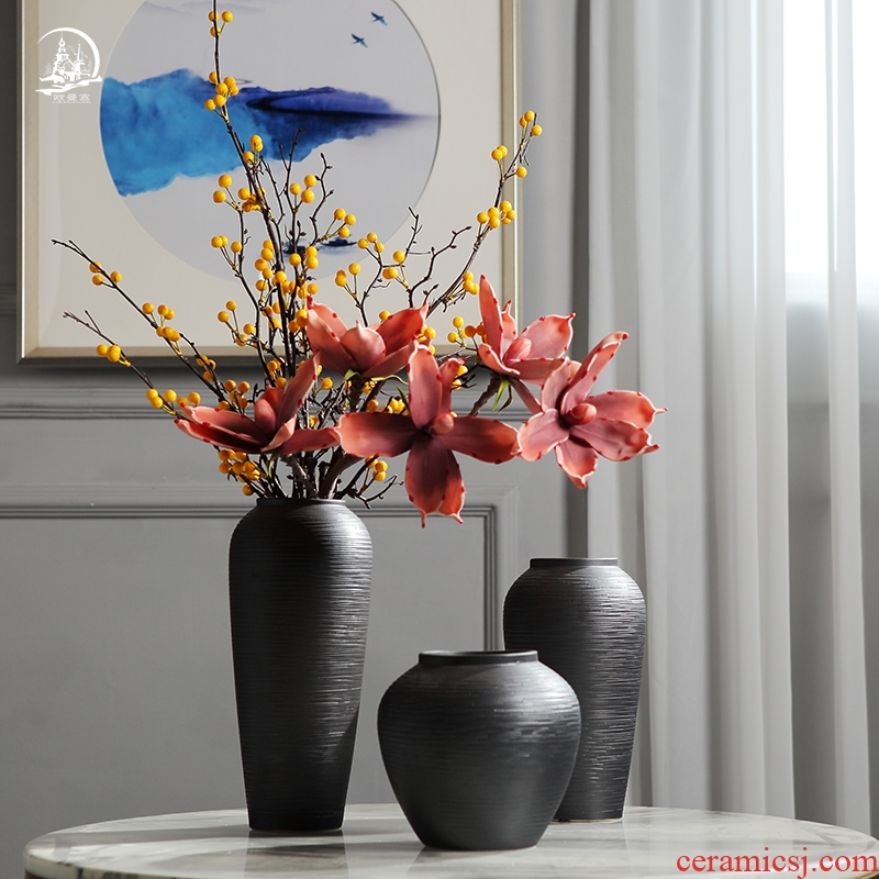 New Chinese style ceramic vase furnishing articles manually zen restoring ancient ways is the sitting room porch model between household soft adornment flower arrangement