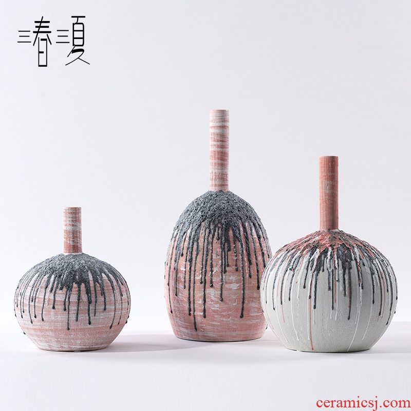 Postmodern new Chinese porcelain pot example room porch place nature science wearing small expressions using the big vase flowers, soft adornment