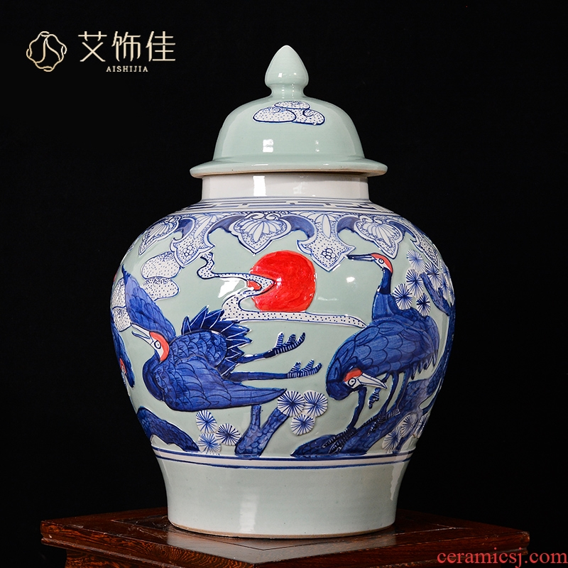 Jingdezhen ceramics general furnishing articles yellow tank storage tank with cover the tea pot large new Chinese style decoration