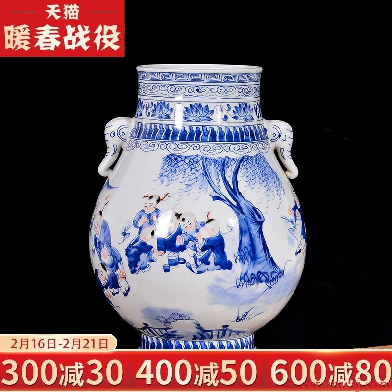 Jingdezhen blue and white lad vase Chinese antique ceramics ears sitting room rich ancient frame TV ark, flower arranging furnishing articles