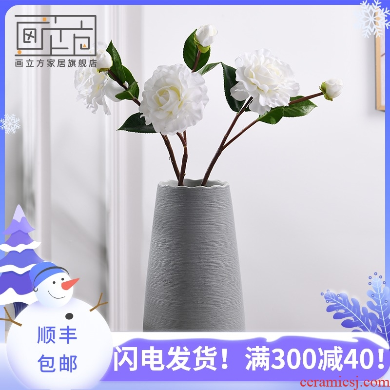 Creative living room cubic Nordic I and contracted, ceramic flower arranging vase dried flowers, home furnishing articles