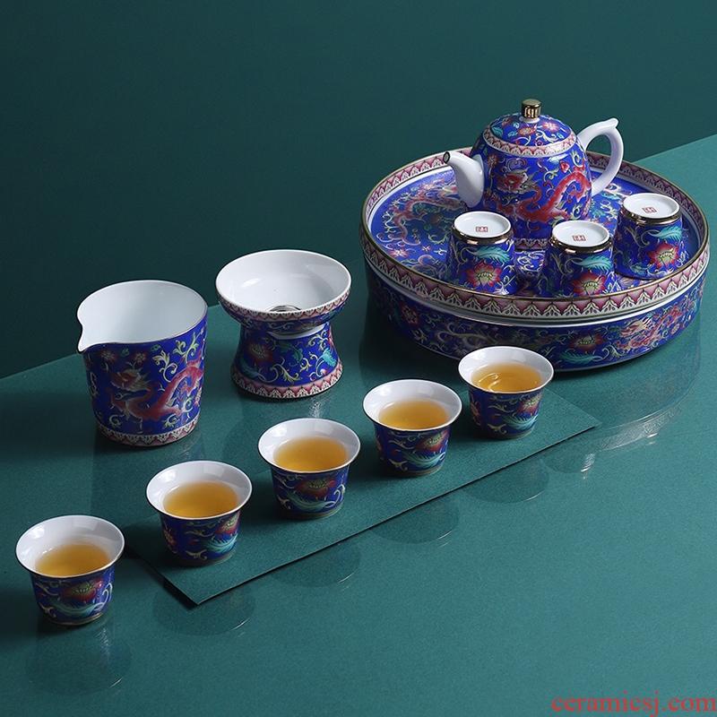 Artisan fairy colored enamel tea set high - grade ceramic household of Chinese style kung fu tea cup tea tray lid bowl