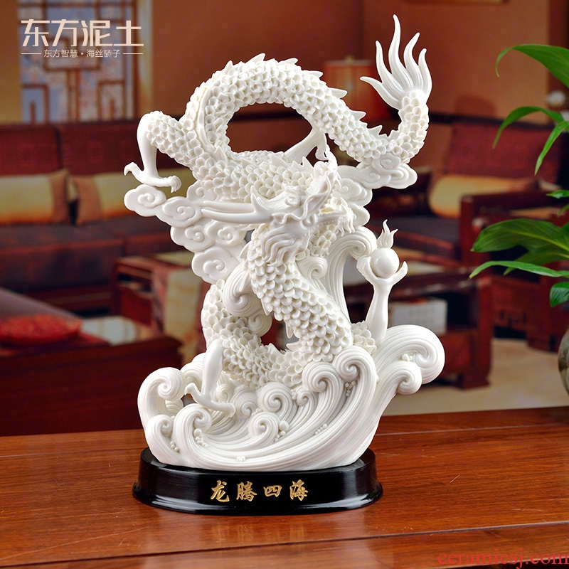 Oriental clay ceramic dragon furnishing articles dehua white porcelain its technology office business gifts/longteng everywhere