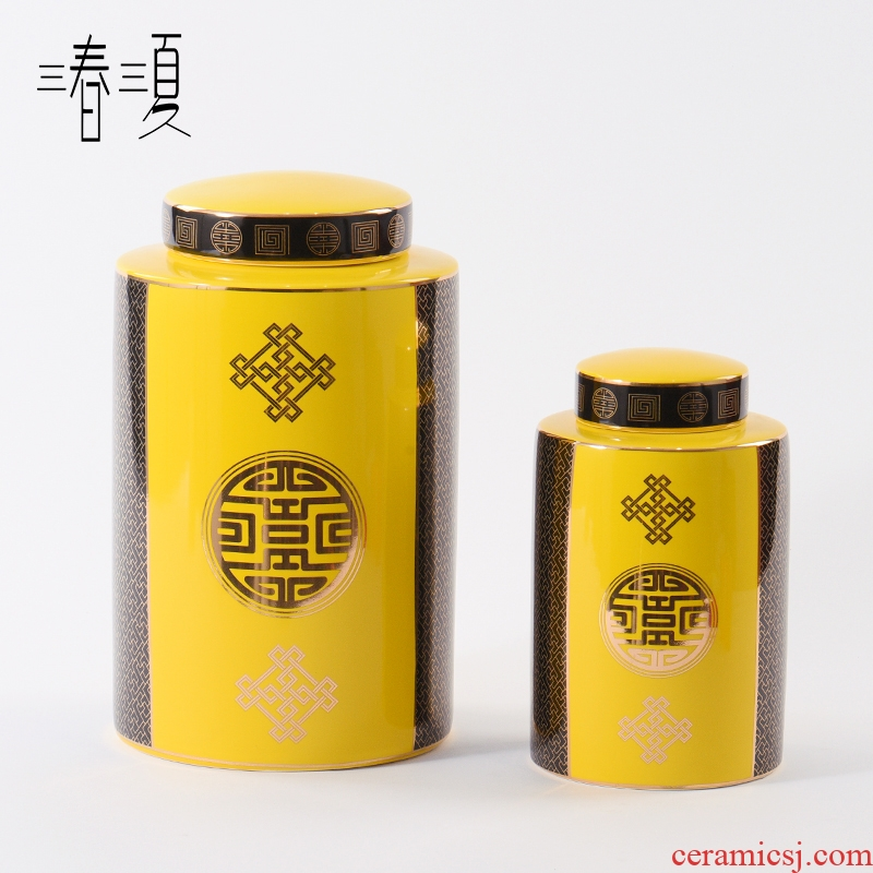 New Chinese style ceramic furnishing articles yellow storage tank with cover between sitting room display case example modern bookcase soft decoration