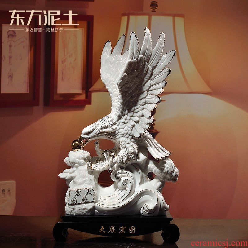 Oriental clay ceramic eagle furnishing articles sitting room office desktop rich ancient frame decoration/future