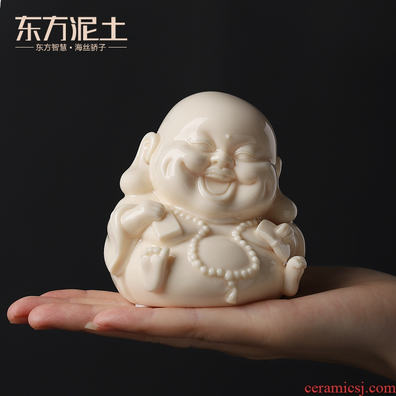 Oriental small clay ceramic crafts office desk refreshing Q version of maitreya/ha harvard ornament